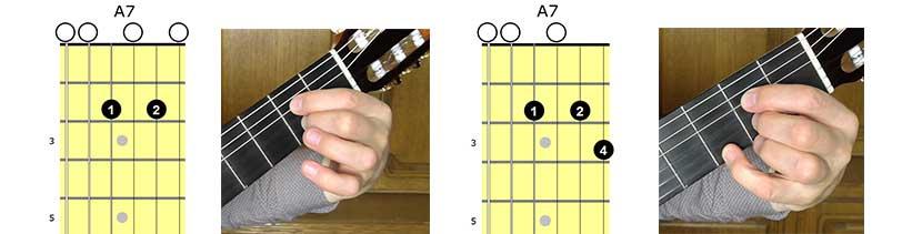 Два варианта септаккорда A7