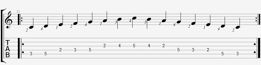 Гамма до мажор от 5 струны